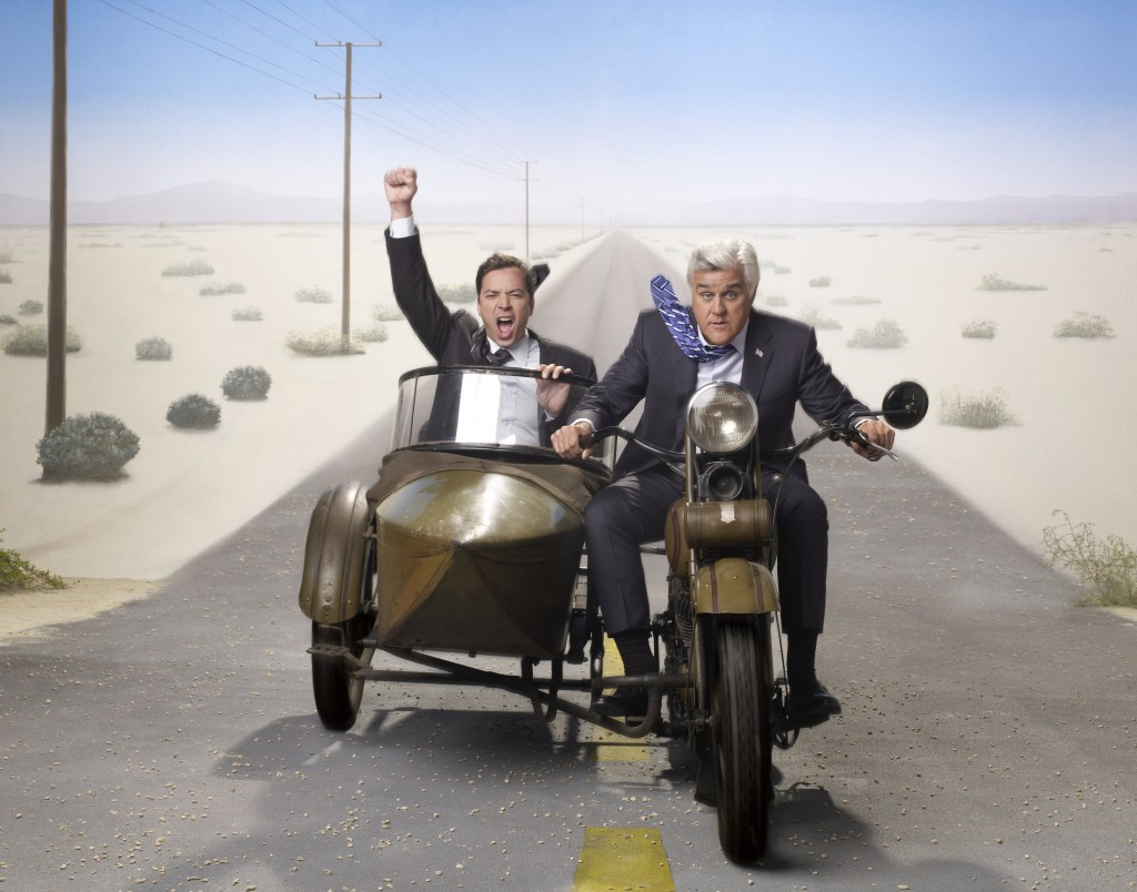 Leno and Fallon riding off together.